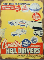 hell drivers metal sign